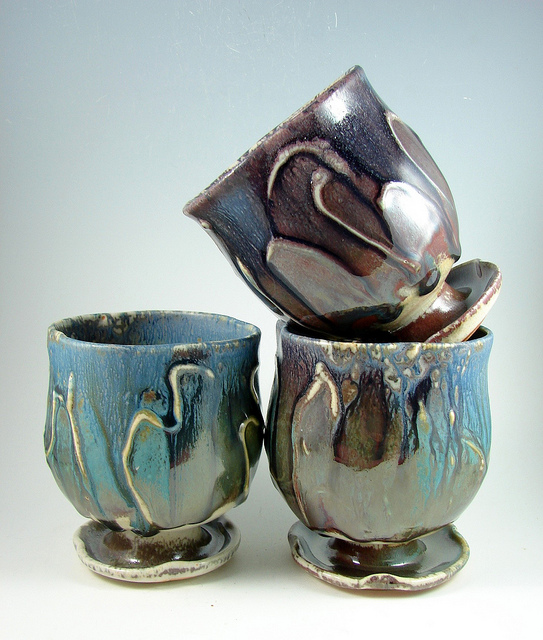 Ceramic mugs cups set three blue