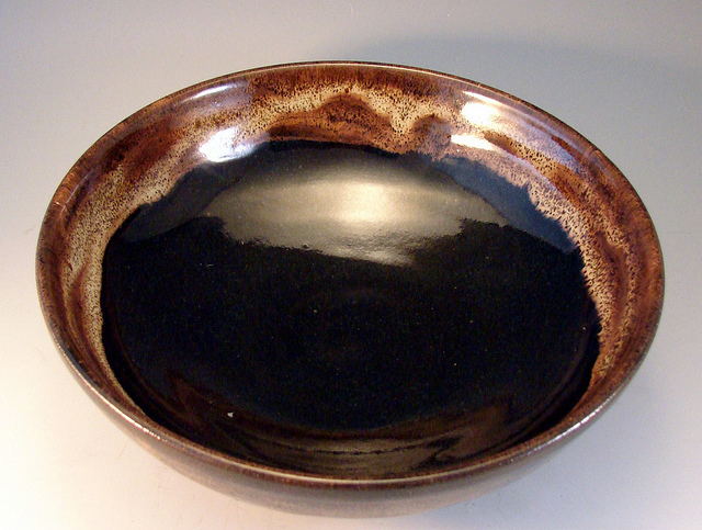 Handmade clay brown dish plate