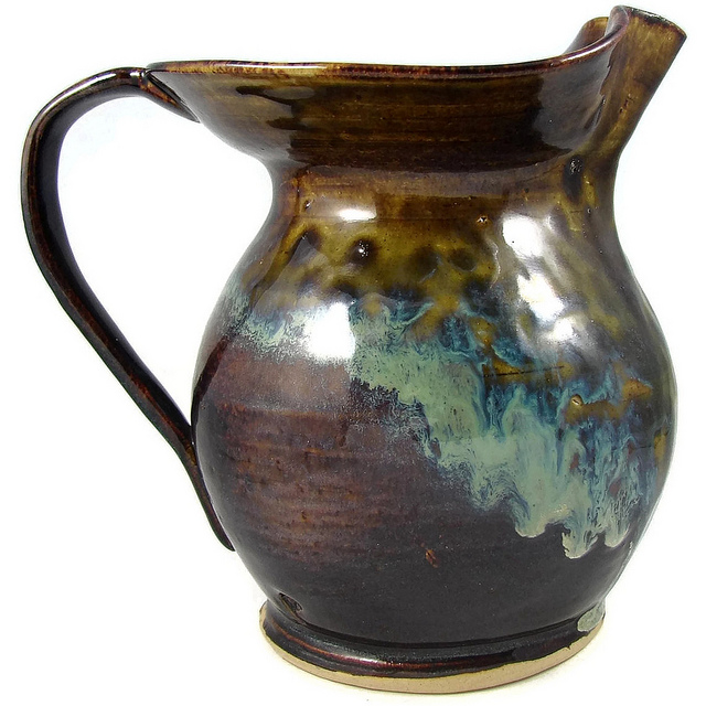 Ceramic water jug pitcher brown glazed