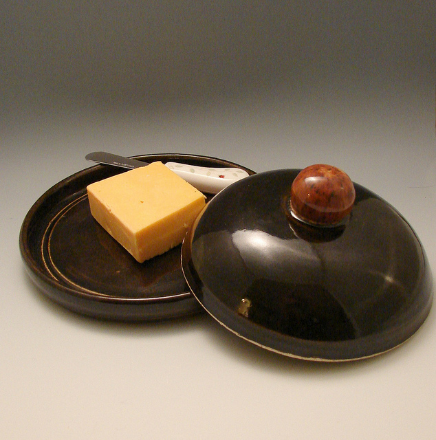 Clay cheese plate cover dish glazed