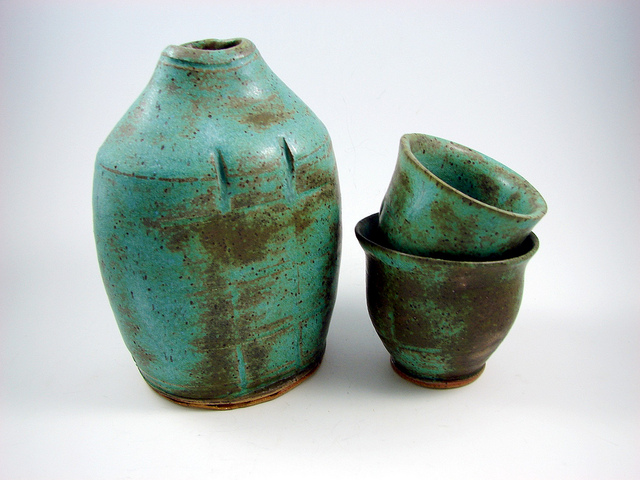 Handmade clay teal pitcher cups