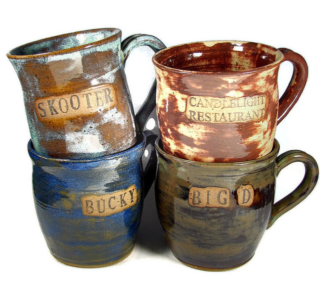 Stoneware mugs set four handmade personalized